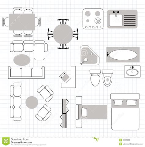 furniture icons for floor plans floor plan with furniture stock photo image 38539380