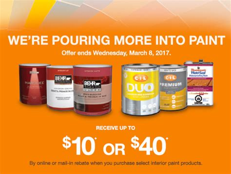 home depot canada paint deals receive 10 or 40 on behr