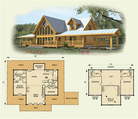 Log Home Plans With Loft | simple cabin plans with loft log cabin with loft open