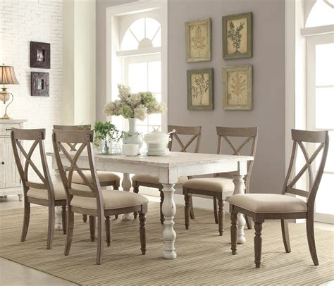 farm table dining room set 7 piece farmhouse dining set by riverside furniture wolf