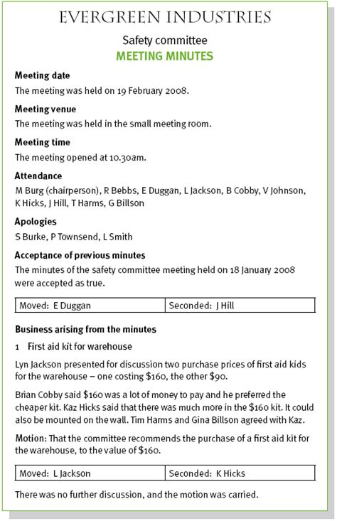 how to record minutes of a meeting template consumer and support project