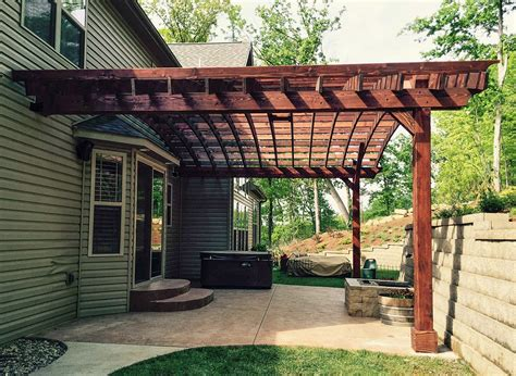 attached arched pergola kits redwood attached arched