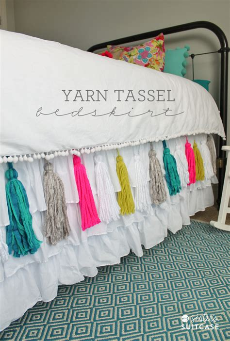 how to make a bed skirt diy yarn tassel bedskirt
