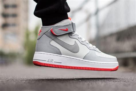 nike airforce one 1 nike air 1 mid 07 grey bright crimson sneaker bar