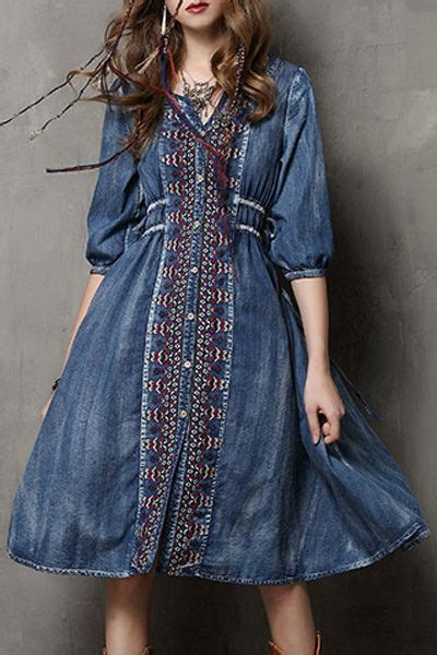 cun denim blue embroidery drawstring pocket denim dress best 25 denim dresses ideas on dress