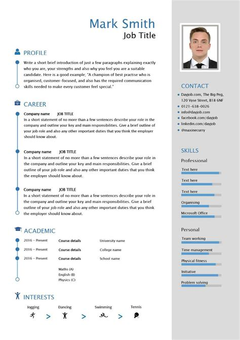 Cv Template by Free Downloadable Cv Template Exles Career Advice How