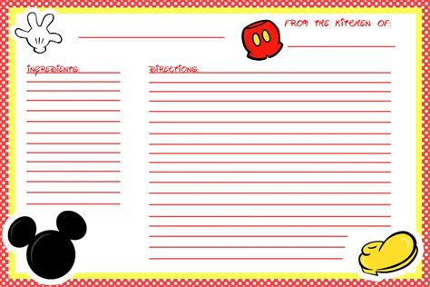 printable disney recipes animating the princesses free printable mickey recipe