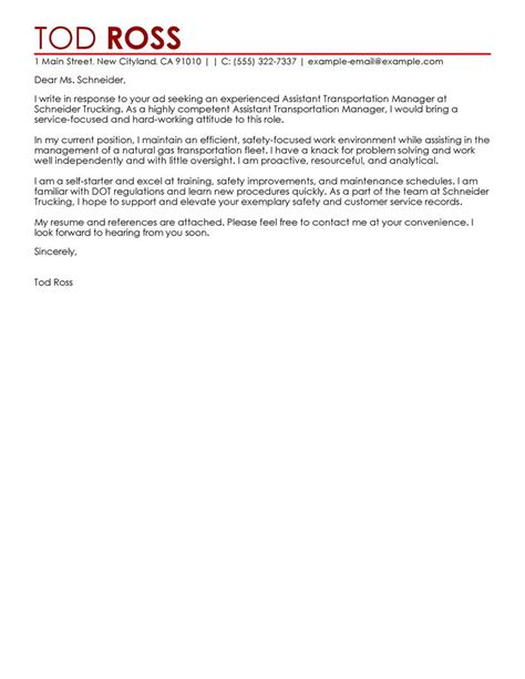 assistant manager cover letter exles transportation