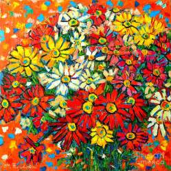 Daisy Duvet Cover Autumn Flowers Colorful Daisies Painting By Ana Maria Edulescu