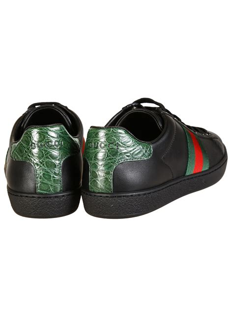 black gucci sneakers gucci leather sneakers in black lyst