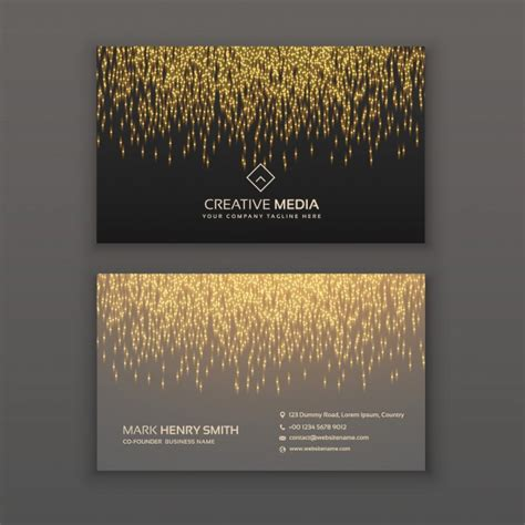 Led Card Template by Business Card With Golden Lights Led Lights Photoshop
