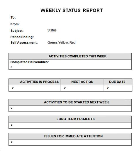 weekly report template 7 weekly status report templates word excel pdf formats