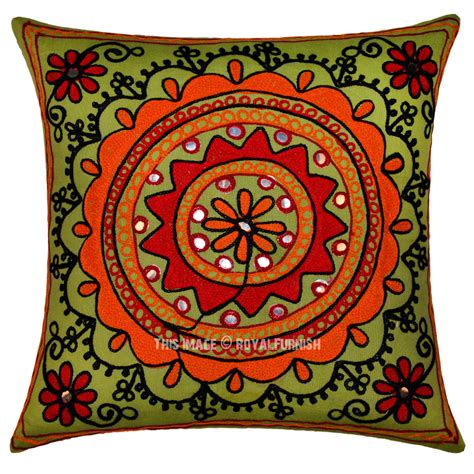 Embroidered Decorative Pillows by 16 Quot Green Floral Circle Embroidered Decorative Square