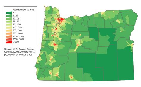 population map of oregon map of oregon map population density worldofmaps net