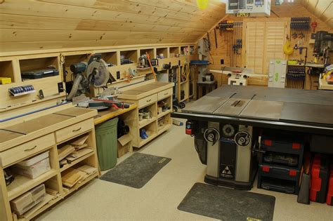 woodworking space woodshop workshop 2nd floor of garage