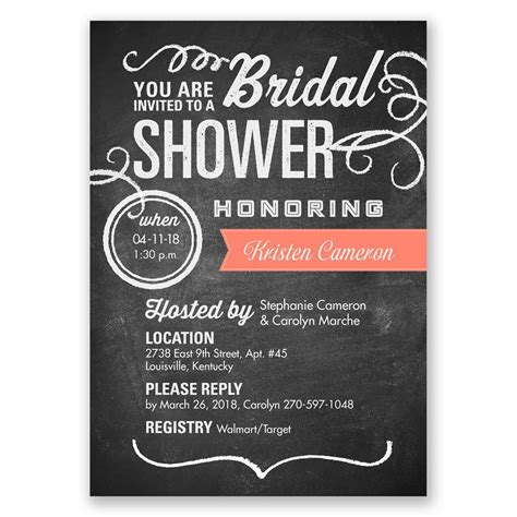 chalkboard style bridal shower invitations chalkboard poster bridal shower invitation invitations by