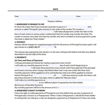 mortgage note templates 6 free word format download