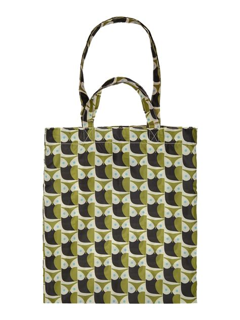 orla kiely owl green multi pack away tote bag in