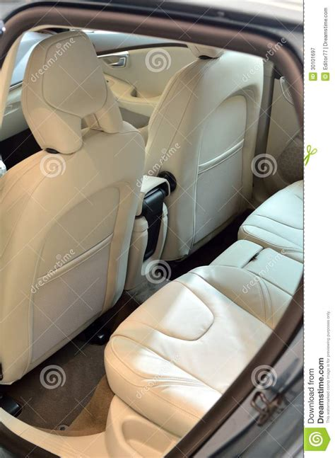Car Door Interior White Leather Seats Inside Car Royalty Free Stock Photography Image 30101697