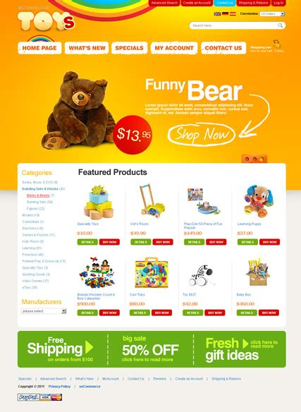 toys store 2 3ver oscommerce template html5 web