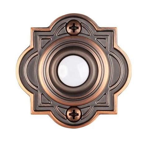 lighted doorbell button with diode hton bay wired lighted door bell push button mediterranean bronze hb 623 02 the home depot