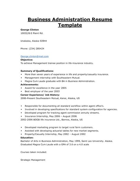 business administration resume exles business administration resume objective resume ideas