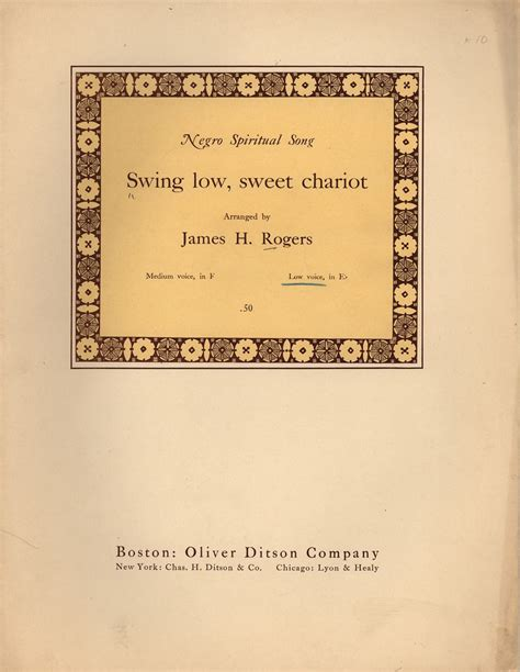 swing low sweet chariot history swing low sweet chariot historic american sheet music