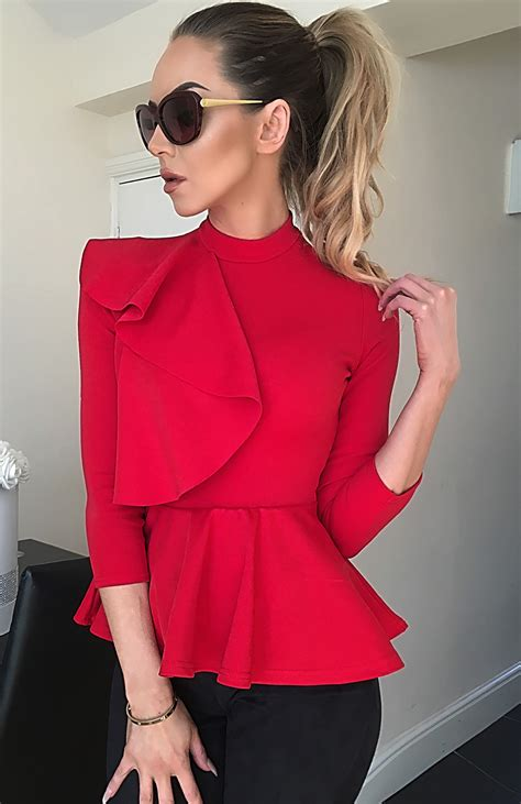 Ciara Top ciara side frill detail peplum top tops blouses
