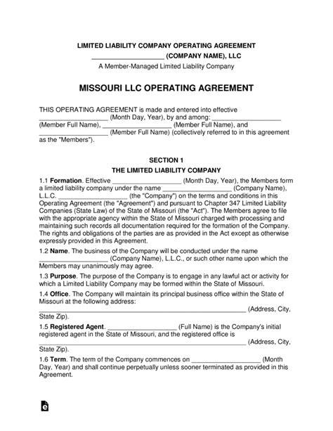 Missouri Multi Member Llc Operating Agreement Form Eforms Free Fillable Forms Missouri Llc Operating Agreement Template