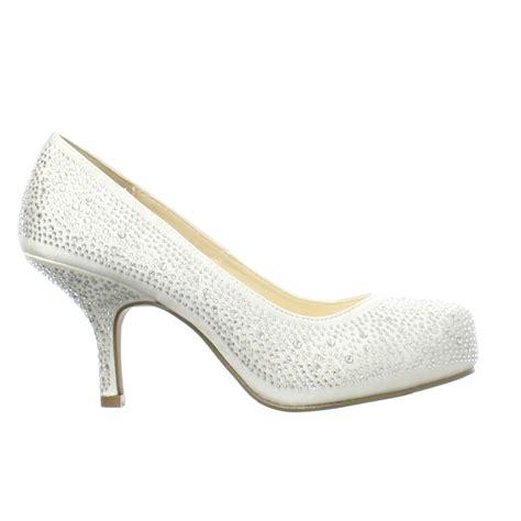 Hochzeit Schuhe by Damen Satin K 228 Tzchen Absatz Strass Edelstein Braut
