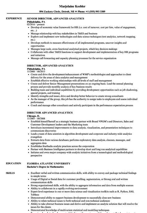 advanced resume format director advanced analytics resume sles velvet