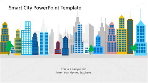 city view powerpoint template background for colorful flat design city background powerpoint shapes