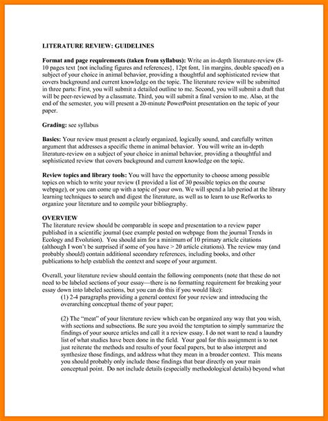 Resume Format Sample Word Doc by 7 Apa Literature Review Template Packaging Clerks