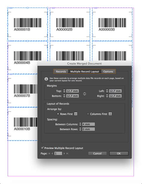 multiple record layout indesign cc barcode data merge tutorial for adobe indesign