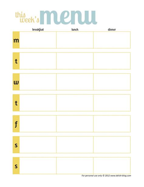 printable menu planner template meal planning