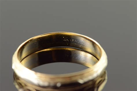 mm decorative engraved  tone wedding band mens yellow gold ring size