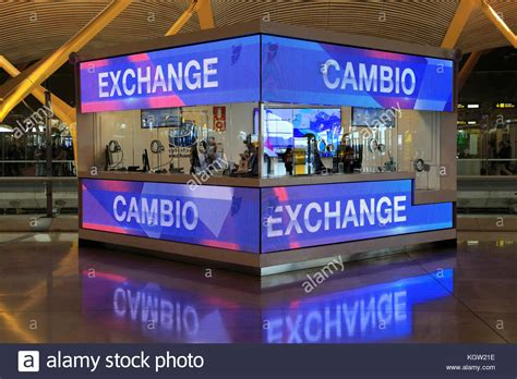 manchester bureau de change exchange airport stock photos exchange