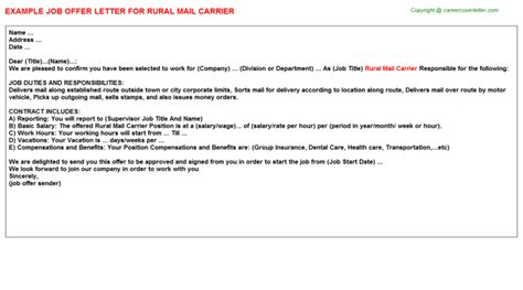 mail carrier cover letter rural mail carrier title docs