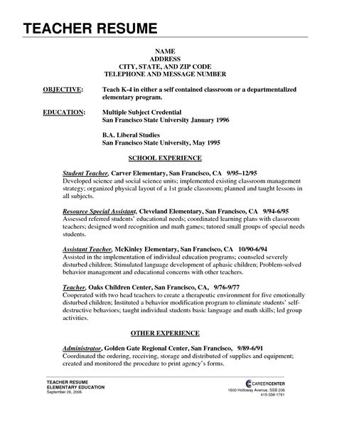 teachers resume model resume for teaching resume ideas