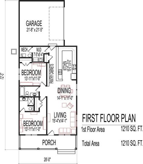 Small Low Cost Economical 2 Bedroom 2 Bath 1200 Sq Ft 1200 Square Foot House Plans 2 Story