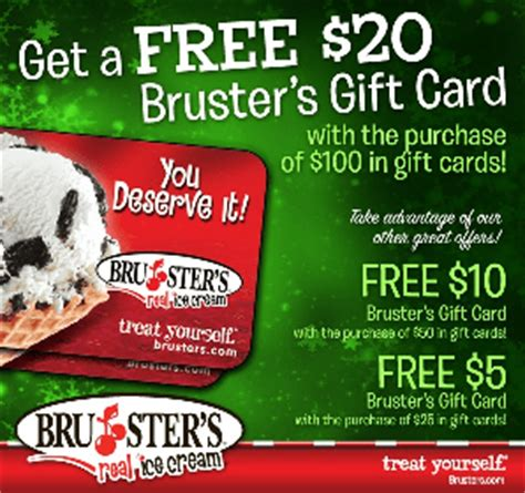 bruster s gift cards buy 25 get 5 free savings lifestyle - Brusters Gift Card