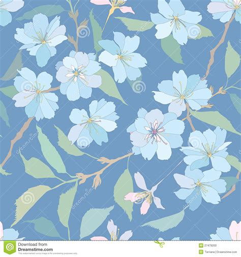 pattern flower blue seamless pattern with lilac and blue flowers stock photo