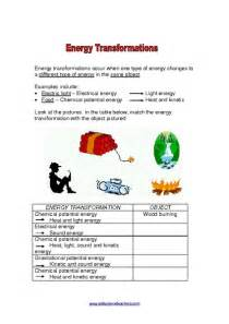 energy transformation worksheet davezan