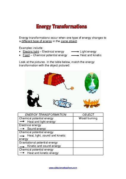 Energy Conversions Worksheet by Worksheets Energy Transfer Worksheet Opossumsoft