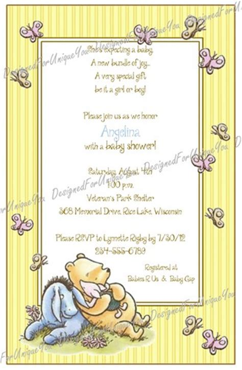 Personalized Winnie The Pooh Baby Shower Invitations by Personalized Winnie The Pooh Baby Shower Invitations