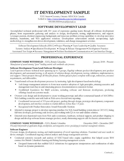 sofware development lead resume sle