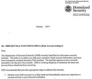 Official Letter Bank Details Dhs Alerts Contractors To Bank Data Theft Krebs On Security