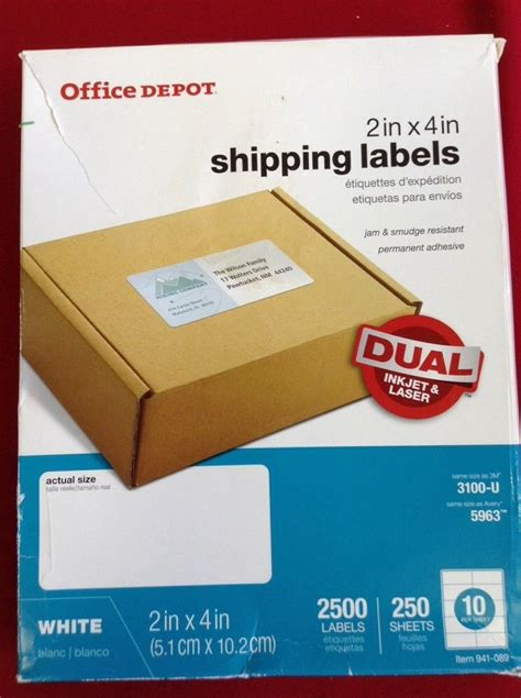 Office Depot 2x4 Shipping Labels Template