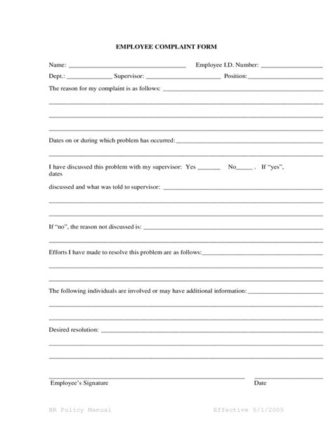 hr complaint form template employee complaint form 4 free templates in pdf word