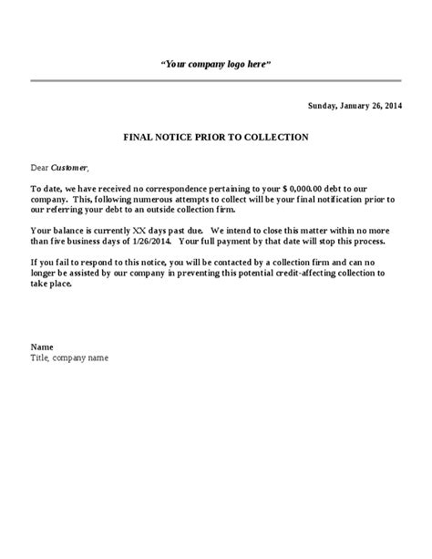 collection letter template final notice hashdoc